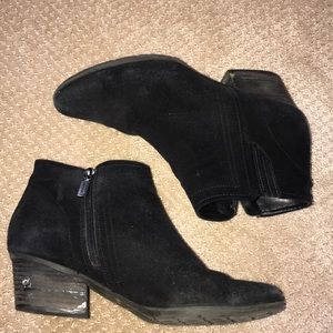 BLONDO Black Suede Zip Heeled Ankle Boots Booties